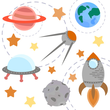 astronomic: Space theme - set of flat astronomic symbols of planets, rocket, stars, satellite, ufo. Vector illustration