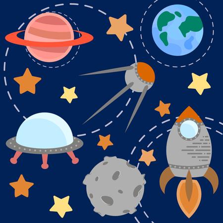 astronomic: Space theme - set of flat astronomic symbols of planets, rocket, stars, satellite, ufo. Vector illustration