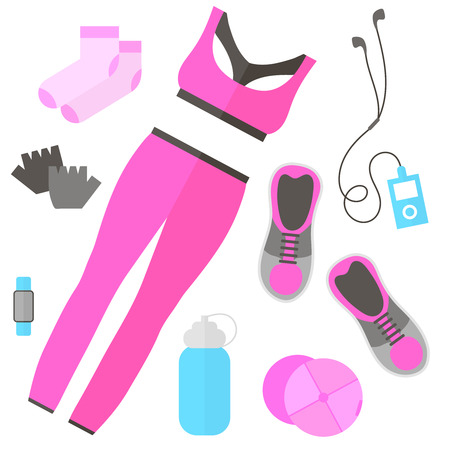 Fitness theme - set of flat sports and fitness elements of cloths, shoes, gloves, socks, fitness wristband, baseball cap, player, bottle. Fitness concept flat vector illustration. Fitness woman set, top view.