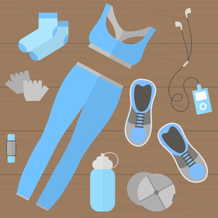 sport shoe: Fitness theme - set of flat sports and fitness elements of cloths, shoes, gloves, socks, fitness wristband, baseball cap, player, bottle. Fitness concept flat vector illustration. Fitness woman set, top view.