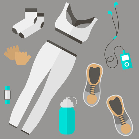 wristband: Fitness theme - set of flat sports and fitness elements of cloths, shoes, gloves, socks, fitness wristband, baseball cap, player, bottle. Fitness concept flat vector illustration. Fitness woman set, top view.