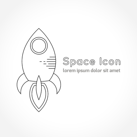 astronomic: Space theme - line astronomic icon of rocket. Modern style vector icon. Cosmos clipart object Illustration