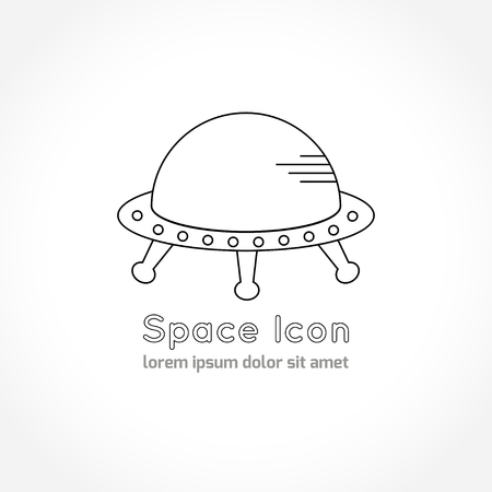 astronomic: Space theme - line astronomic icon of ufo. Modern style vector icon. Cosmos clipart object