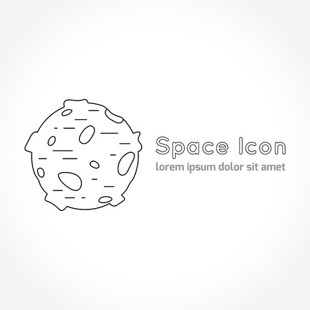 astronomic: Space theme - line astronomic icon of moon. Modern style vector icon. Cosmos clipart object