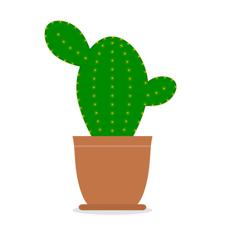plant pot: Cactus in flower pot. Cactus icon. Cartoon Cactus Illustration. Green and exotic plant. Flat style vector illustration.