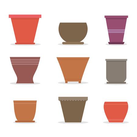 Set aus verschiedenen Töpfen für Zimmerpflanzen und Blumen in flachen Stil. Vektor-Illustration