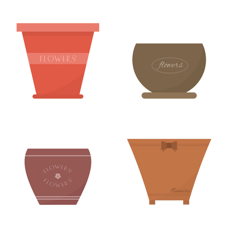 Set of different pots for house plants and flowers in flat style. Vector illustration