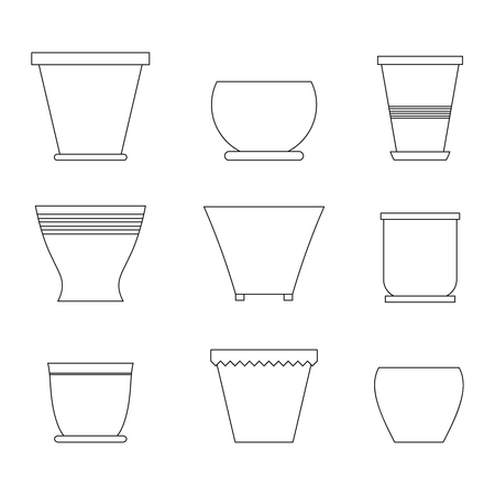 Set of different pots for house plants and flowers in line style. Vector illustration