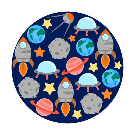 Space theme - set of flat astronomic symbols of planets, rocket, stars, satellite, ufo. Modern style vector illustration for book cover, t-shirt, flyer or banner. Cosmos clipart objects