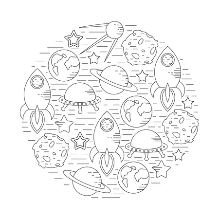 astronomic: Space theme - set of line astronomic symbols of planets, rocket, stars, satellite, ufo. Vector illustration. Cosmos clipart objects Illustration