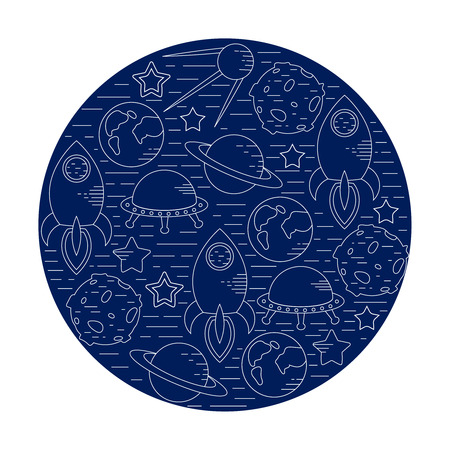 Space theme - set of line astronomic symbols of planets, rocket, stars, satellite, ufo. Vector illustration. Cosmos clipart objects Иллюстрация