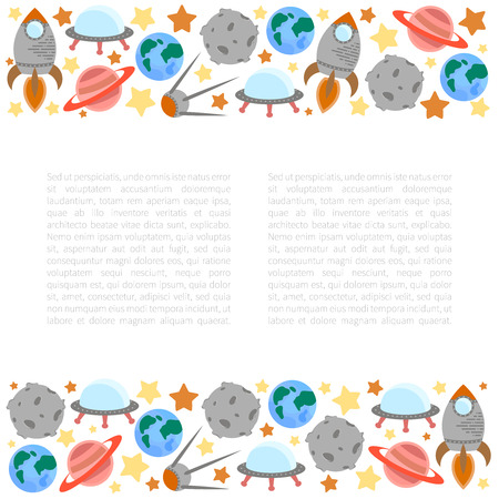 astronomic: Space theme - set of flat astronomic symbols of planets, rocket, stars, satellite, ufo. Background with place for your text. Vector illustration Illustration