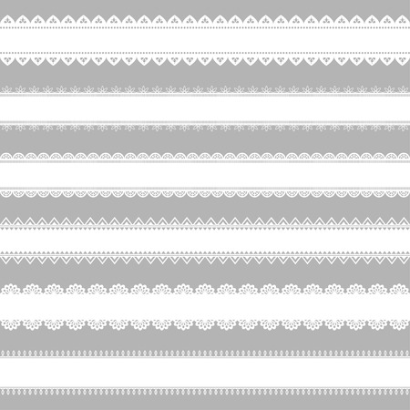 fabric patterns: Vector set of lace ribbons. Great for design and scrapbook.Can be used as seamless pattern. Vector illustration. Border and element of decor.