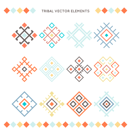 Set of vector tribal elements. Ethnic collection. Ethnic decor elements set. Geometric objects. Иллюстрация