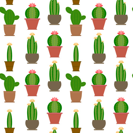 Seamless cactus illustration background pattern in vector. Cartoon Cactus Illustration. Green and exotic plant. Flat style vector illustration.