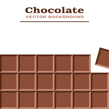 Vector background with chocolate with place for your text. Chocolate Bar and Chocolate Pieces. Vector illustration