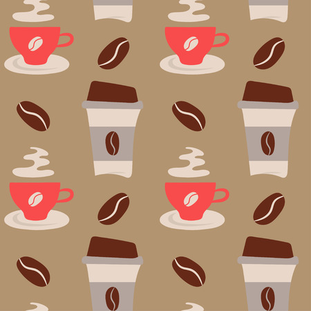 Coffee time theme - vector seamless pattern. Coffee vector illustration