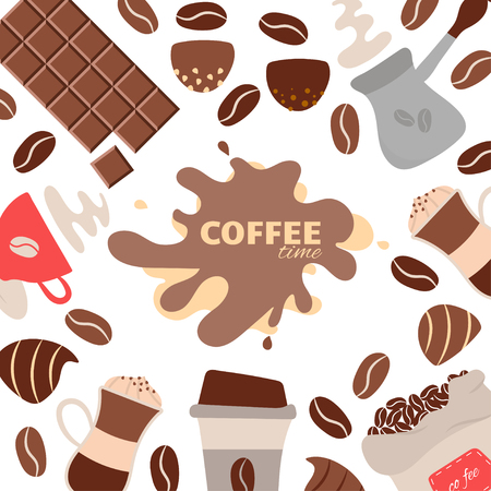 Coffee time theme - vector background. Background with coffee beans, cup of coffee, latte, candy, chocolate and other coffee elements. Coffee vector illustration