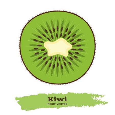 Fresh green kiwi fruit in flat style. Иллюстрация