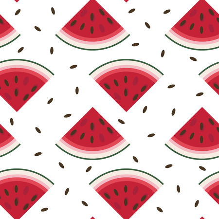 Vector seamless pattern with fresh ripe watermelon.