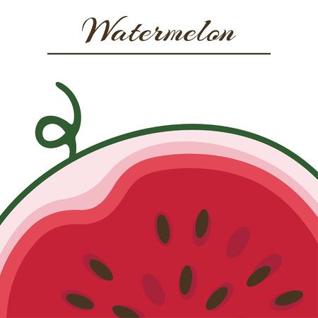 Vector background with fresh ripe watermelon. Watermelon vector illustration. Summer concept. Watermelon Slice. Иллюстрация