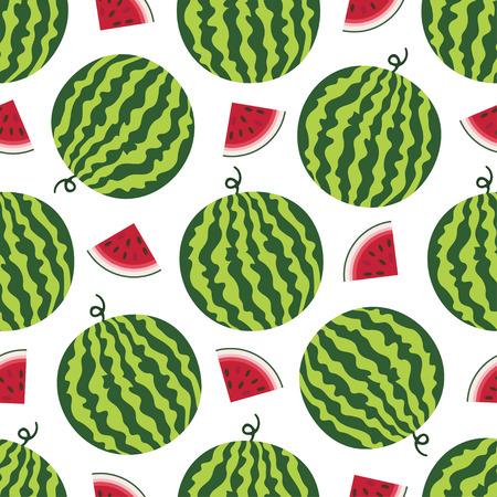 Vector seamless pattern with fresh ripe watermelon. Watermelon vector illustration. Summer concept. Watermelon Slice and round striped watermelon Иллюстрация