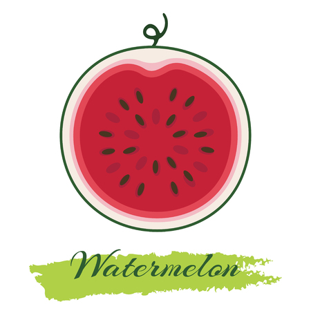 Vector illustration of fresh ripe watermelon. Watermelon vector illustration. Summer concept. Watermelon Isolated. Watermelon icon. Watermelon Slice.