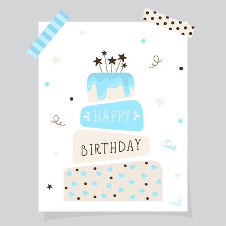 Cute happy birthday card with cake. Birthday cake. Vector calligraphic inscription «Happy birthday on birthday cake background. Vector Illustration.