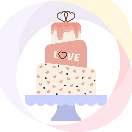 wedding cake: Vector illustration with wedding cake. For wedding invitations or announcements. Icon wedding cake. Sweet wedding cake.