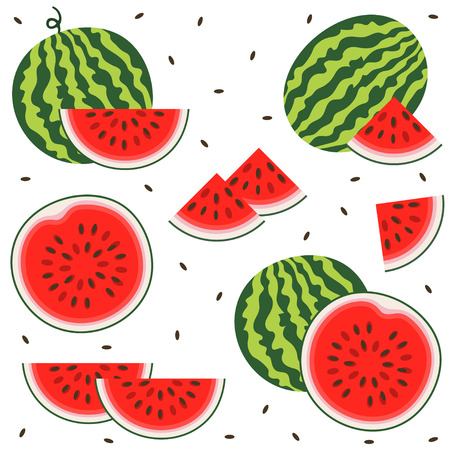 Set of fresh ripe watermelon. Single watermelon, half a watermelon, a slice of watermelon. Summer concept. Watermelon vector illustration