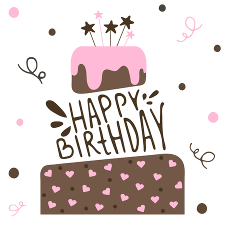 Cute happy birthday card with cake. Vector calligraphic inscription Happy birthday. Vector Illustration. Иллюстрация