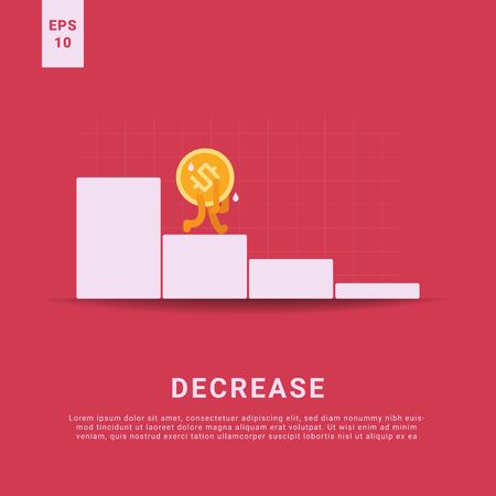 decrease rate and lost income, iconic money walking tired, finance crisis and backrupt concept, flat vector illustration 向量圖像