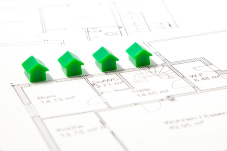 Houses with construction plan Stock fotó