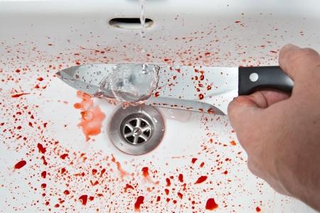 murdering: Bloody knife in the sink
