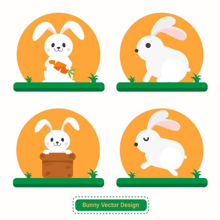 Cute Rabbit or Bunny Vector for icon templates or presentation background. Rabbit icon for pet shop icon. Able to use for website or mobile apps icon