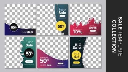 Sale template collection for promotion sale. Promotion sale square banner for social media, website, or internet ads. Vector illustration Vetores