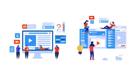 Set of people play social media and watch live streaming. Element design with lifestyle or business concept for website development or social media advertising.