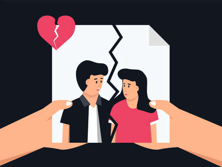 A couple cry due to a broken heart. Couple in disagreement at end of friendly relations.Upset and depressed concept. Flat cartoon vector illustration
