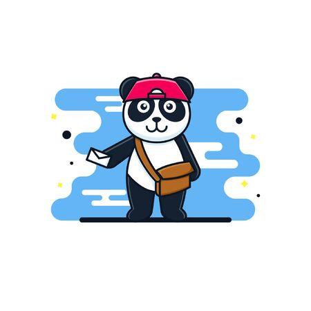 cute cartoon panda postman with a hat