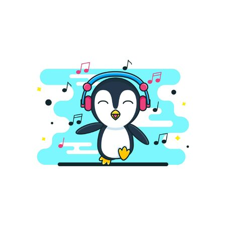 cute baby penguin cartoon with a headphone music Illustration