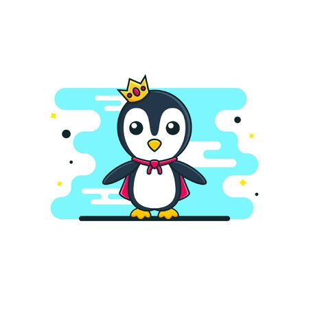 Cute baby penguin king cartoon with a crown