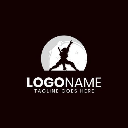 Ninja moon night logo design Illusztráció