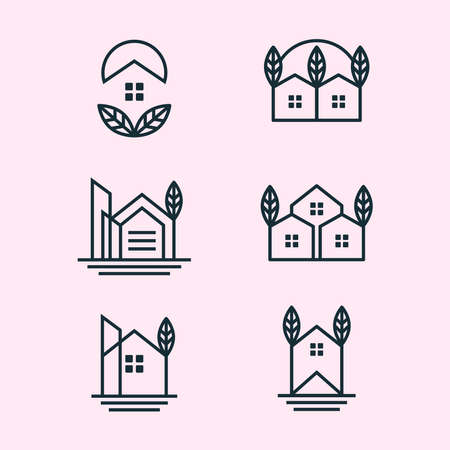 minimalism home leaf set logo design 矢量图像
