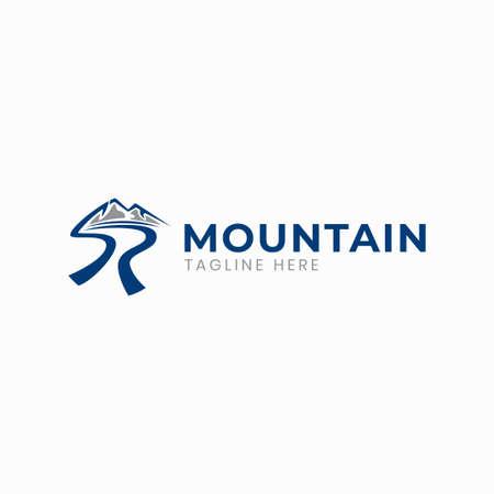 Letter SR mountain river logo template