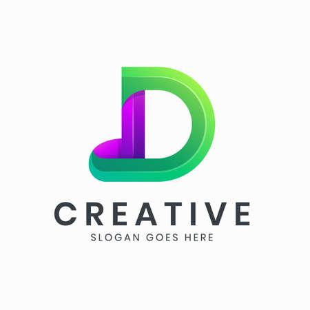 Letter D gradient colorful logo