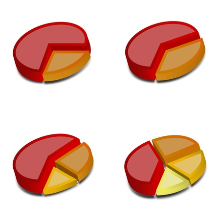 financials: Four 3D pie charts with various amounts graphed with red, orange, yellow and goldenrod   These vectored images may be used in a wide variety of displays  Illustration