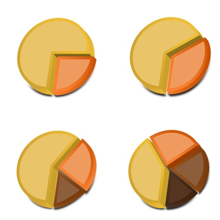 Four 3D pie charts with various amounts graphed with yellow, orange and two shades of brown   These vectored images may be used in a wide variety of displays  Illustration