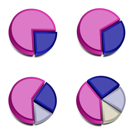 Four 3D pie charts with various amounts graphed with purple, blue, gray and ivory   These vectored images may be used in a wide variety of displays