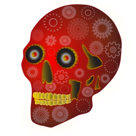 Gear Skull has steampunk and Mexican Day of the Dead flavors  Vector