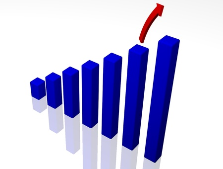 A 3D rendered bar graph with a soaring arrow on a reflective surface. Stock Photo